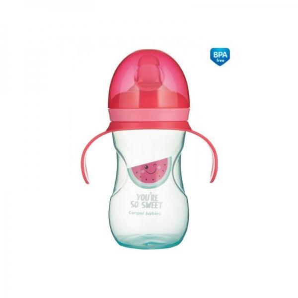 Tréninkový hrníček Canpol Babies s úchyty So Cool - růžový, 270 ml