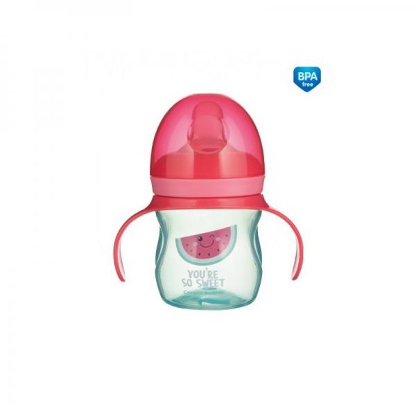 Tréninkový hrníček Canpol Babies s úchyty So Cool - růžový, 150 ml