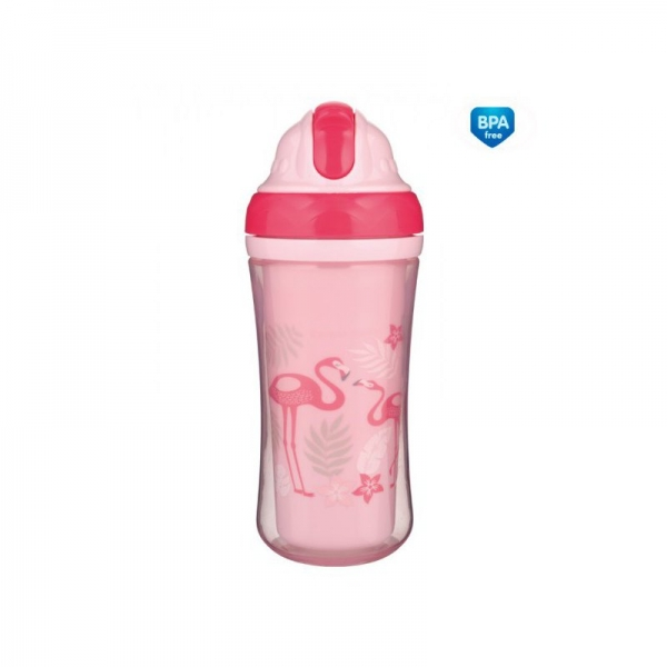 Canpol babies Sportovní láhev se slámkou Plameňáci - růžová, 260 ml