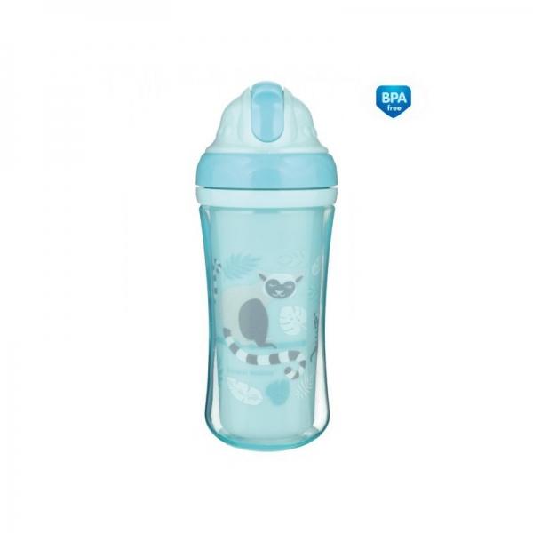 Canpol babies Sportovní láhev se slámkou Lemuři - modrá, 260 ml