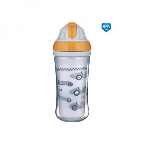 Canpol babies Sportovní láhev se slámkou Racing - sv. modrá, 260 ml