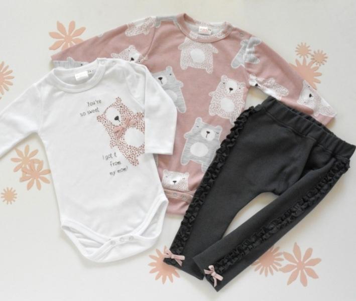 K-Baby Sada 2 x body dl. rukáv + 1 x tepláčky, Medvídek, bílá/pudr. růžová/grafit