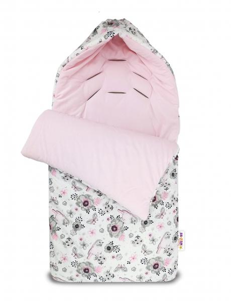 Bavlněný fusak Baby Nellys, velvet, Ptáčci, 47 x 95 cm - růžový