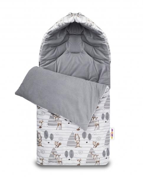 Bavlněný fusak Baby Nellys, velvet, Zvířátka v lese, 47 x 95 cm - šedý