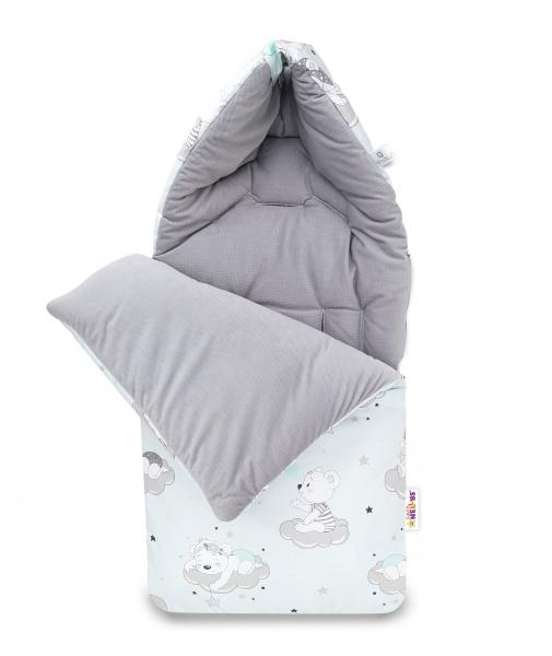 Bavlněný fusak Baby Nellys, velvet, Mráček, 47 x 95 cm - šedý/máta