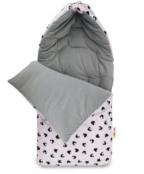 Bavlněný fusak Baby Nellys, velvet, Minnie, 47 x 95 cm - šedý/růžový