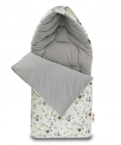 Bavlněný fusak Baby Nellys, velvet, Ptáčci, 47 x 95 cm - šedý