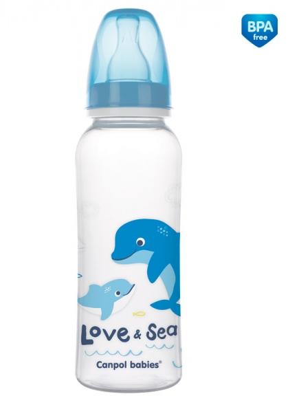 Canpol babies Lahvička s potiskem 250 ml Love&Sea - modrá