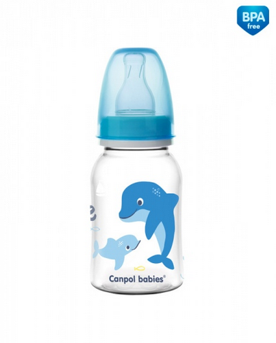 Canpol babies Lahvička s potiskem 120 ml Love&Sea - modrá