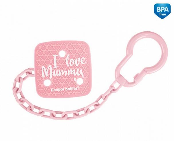 Canpol babies Řetízek na dudlík I Love Mummy - růžový