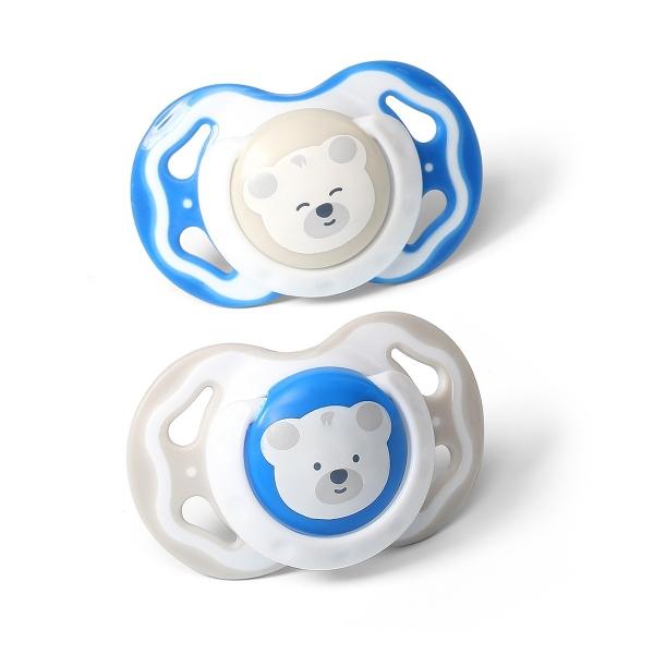 Symetrický dudlík BabyOno, Medvídci - modrá, 6 - 18 m