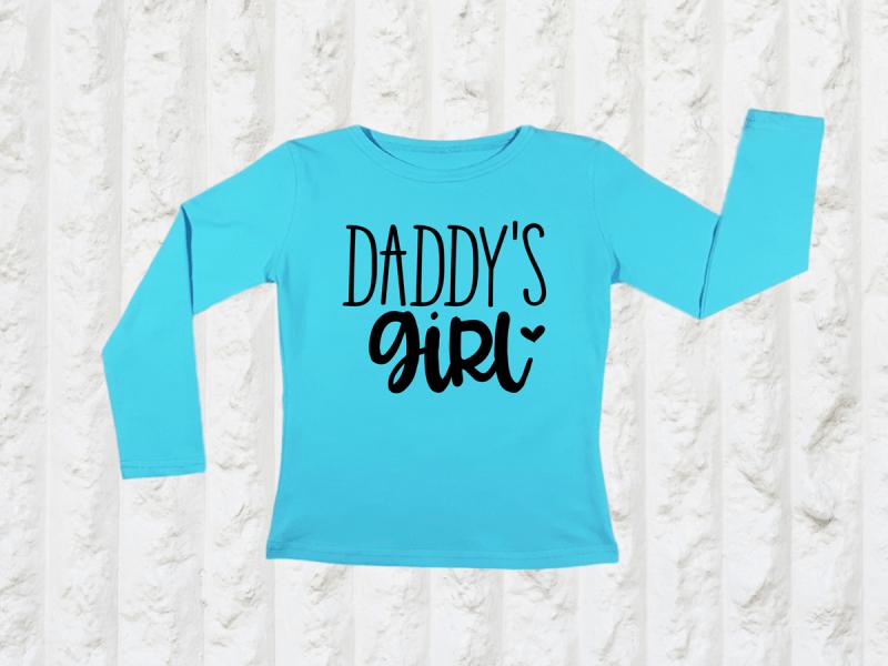 KIDSBEE Dívčí bavlněné tričko Daddy´s Girl - tyrkysové, vel. 128