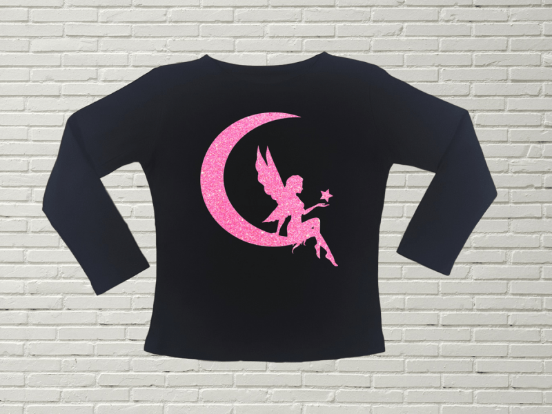 KIDSBEE Dívčí bavlněné tričko Fairy - černé, vel. 104