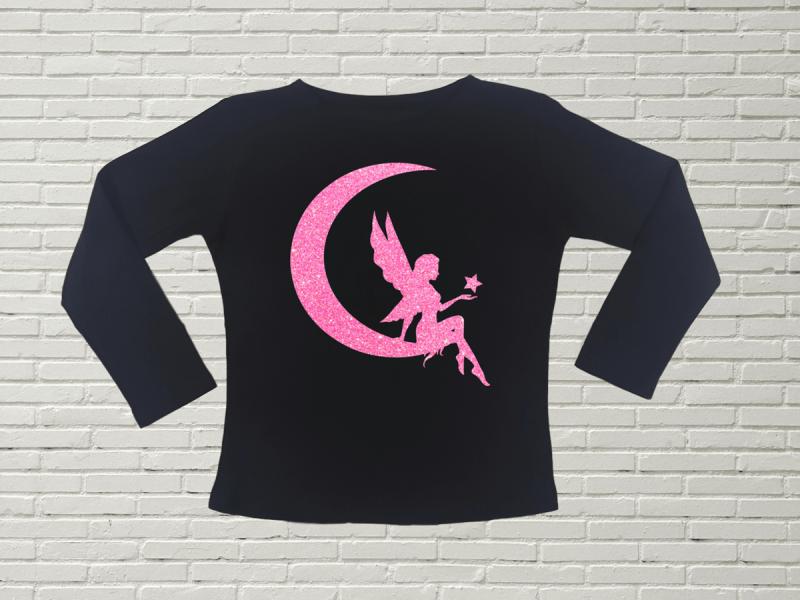 KIDSBEE Dívčí bavlněné tričko Fairy - černé, vel. 128
