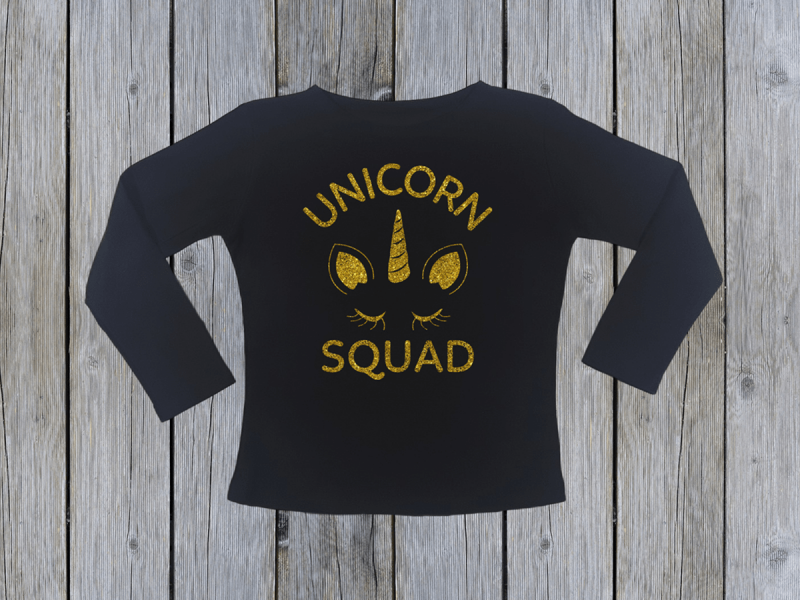 KIDSBEE Dívčí bavlněné tričko Unicorn Squad - černé, vel. 110