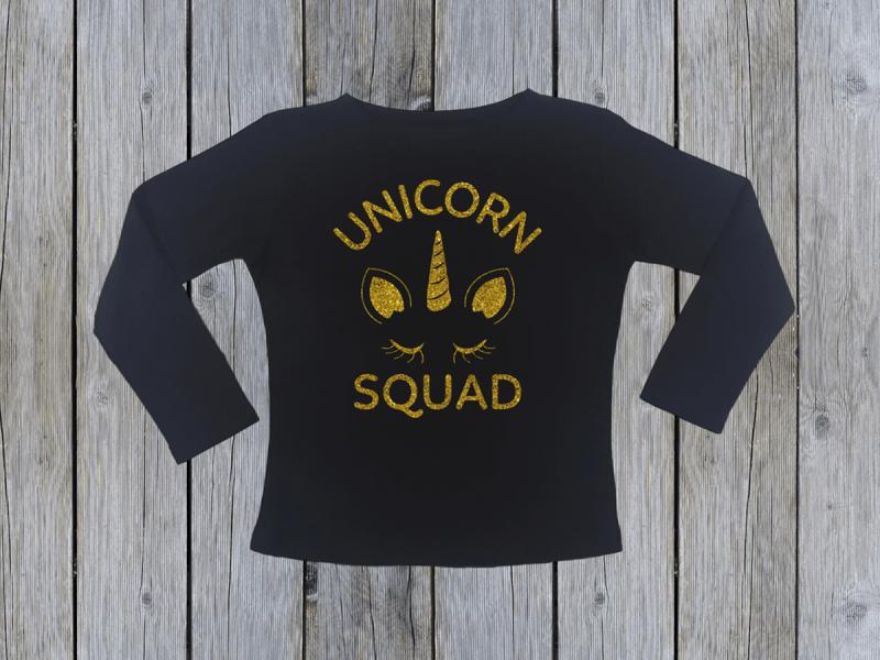 KIDSBEE Dívčí bavlněné tričko Unicorn Squad - černé, vel. 140