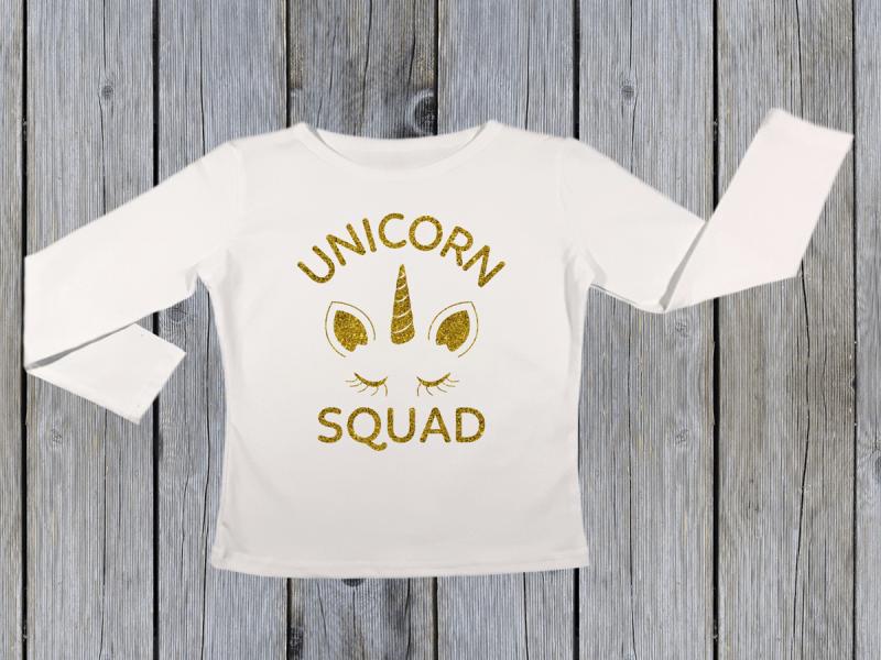KIDSBEE Dívčí bavlněné tričko Unicorn Squad - bílé,  vel. 116