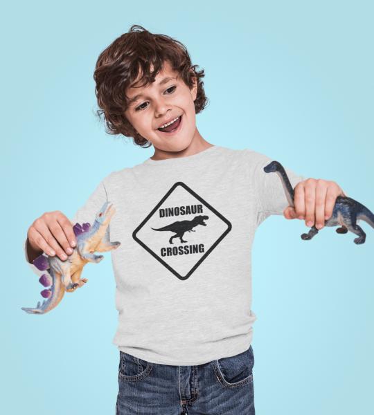 KIDSBEE Chlapecké bavlněné tričko Dinosaurus - sv. šedé, vel. 134