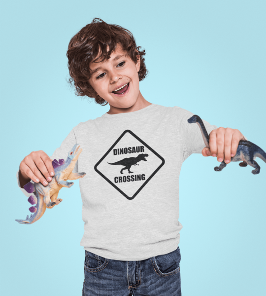 KIDSBEE Chlapecké bavlněné tričko Dinosaurus - sv. šedé, vel. 140