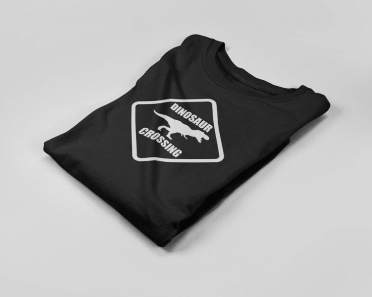 KIDSBEE Chlapecké bavlněné tričko Dinosaurus - černé, vel. 128
