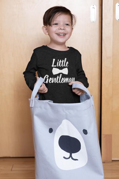 KIDSBEE Chlapecké bavlněné tričko Little Gentleman - černé, vel. 134