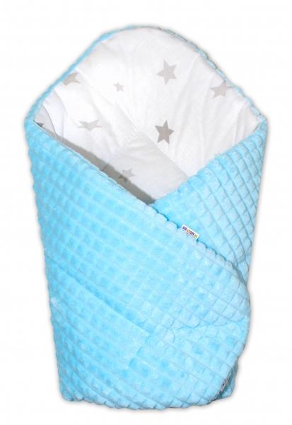 Oboustranná rychlozavinovačka 75x75cm Baby Nellys, hvězdičky šedé/minky kostička modrá
