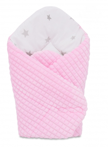 Oboustranná rychlozavinovačka 75x75cm Baby Nellys, hvězdičky šedé/minky kostička růžová