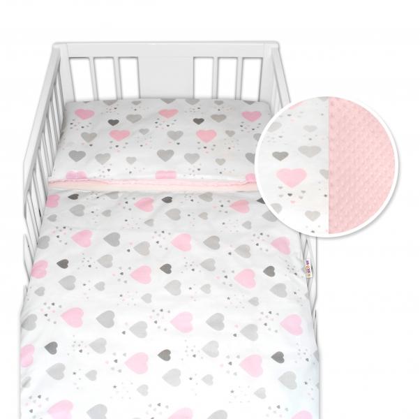 2-dílné bavlněné povlečení s minky Baby Nellys - srdíčka, růžová/růžová