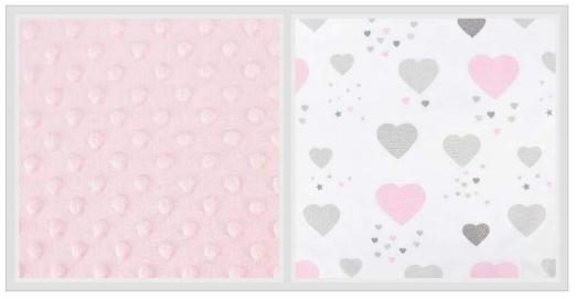 2-dílné bavlněné povlečení s minky Baby Nellys - srdíčka, růžová/růžová, 135x100cm