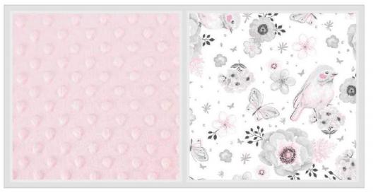 2-dílné bavlněné povlečení s minky Baby Nellys - ptáčci, růžová/růžová