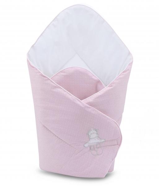 Novorozenecká rychlozavinovačka 75x75cm Baby Nellys s výšivkou, růžová