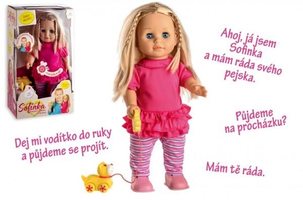 Panenka Sofinka s pejskem chodící a česky mluvící plast 42cm na bat. se zvukem v krab