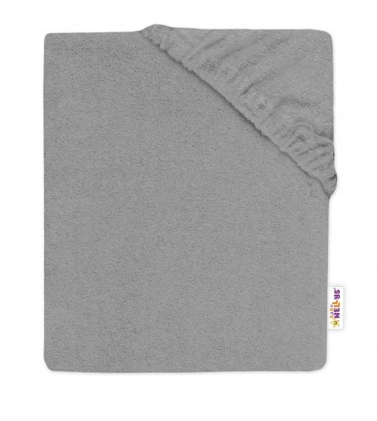 Baby Nellys Dětské froté prostěradlo do postýlky - šedé, 140 x 70 cm, Velikost: 140x70
