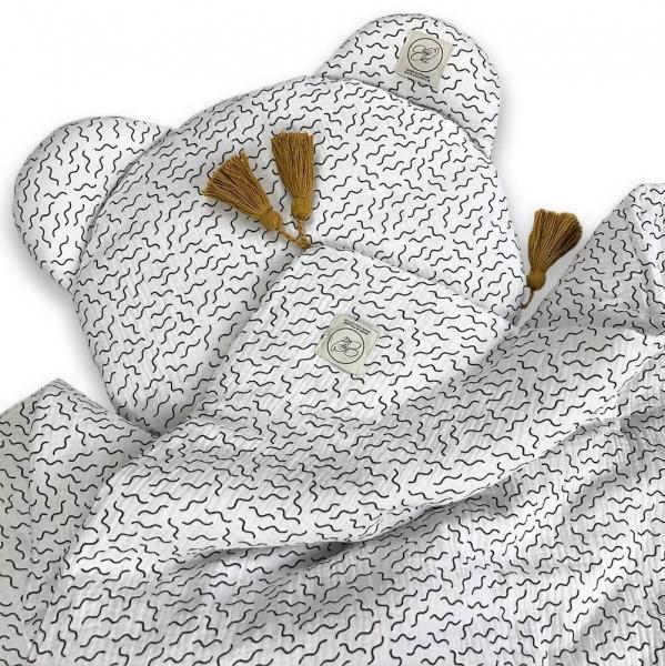 Cosy Cott Dětská mušelínová 2 dílná sada Vlny - bílá