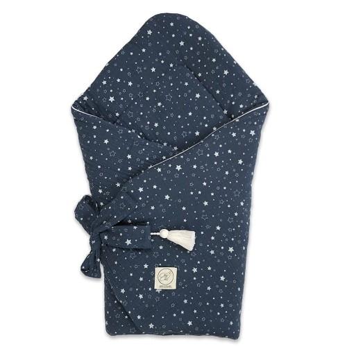Cosy Cott Dětská bavlněná zavinovačka na zavazování Hvězdičky - granátová/bílé hvězdičky