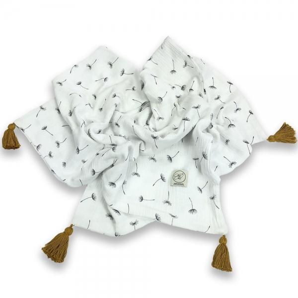 Cosy Cott Dětská mušelínová zavinovací dečka 65x100 cm Pampelišky - bílá