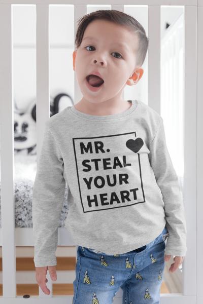 KIDSBEE Chlapecké bavlněné tričko MR. Steal your heart - sv. šedé, vel. 128