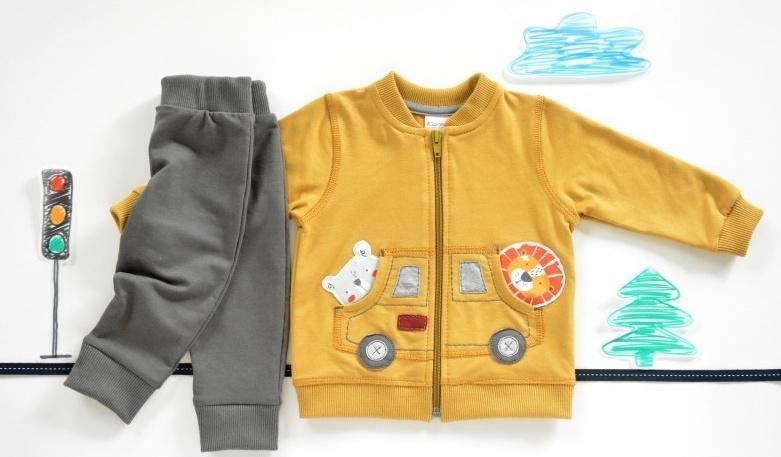 K-Baby Sada triko/mikinka + tepláčky Autíčko - hořčicová/tm. šedá