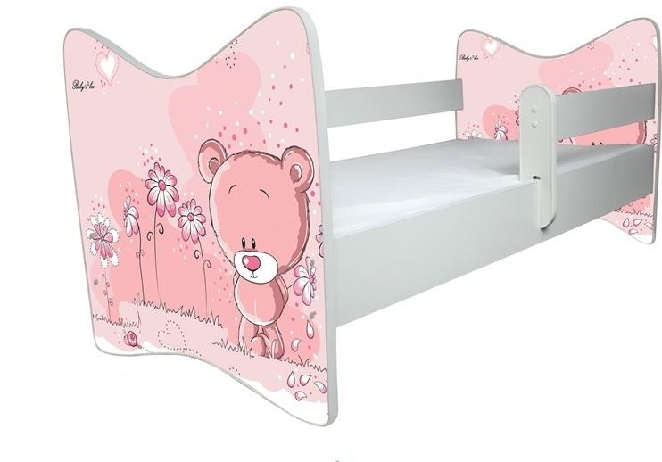 BabyBoo Dětská postýlka LUX Medvídek STYDLÍN růžový 140x70 cm  + ŠUPLÍK