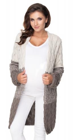 Be MaaMaa Těhotenský kardigan/svetr  - moca/béžový, copánkový vzor
