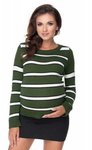 Be MaaMaa Těhotenský proužkovaný svetřík - khaki