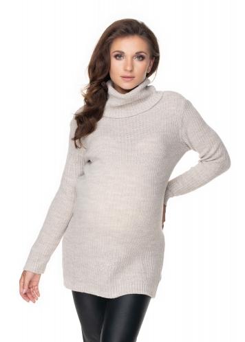 Be MaaMaa Dlouhý těhotenský svetr - béžový