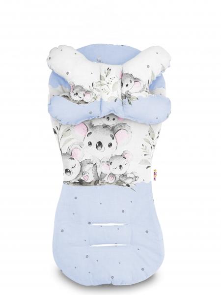 Sada do kočárku Baby Nellys minky, podložka + polštářek - Medvídek Koala, modrá