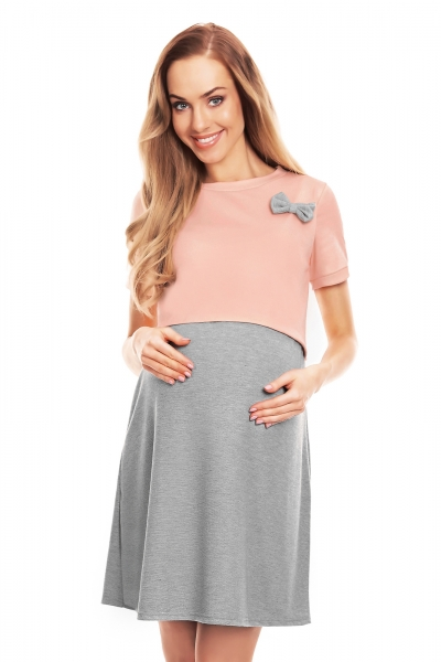 Be MaaMaa Těhotenská, kojící noční košile s mašličkou, kr. rukáv - růžovo/šedá, L/XL
