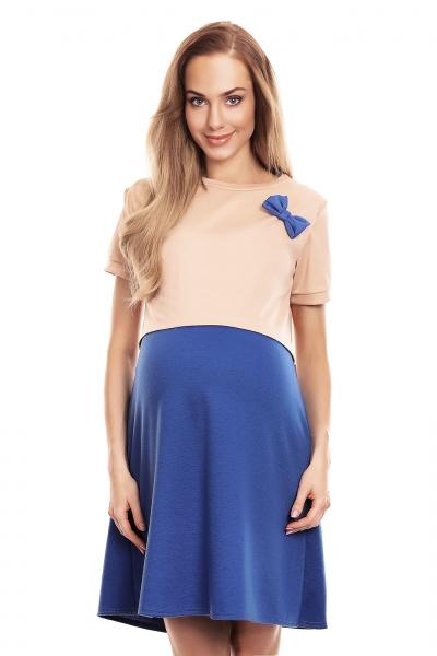 Be MaaMaa Těhotenská, kojící noční košile s mašličkou, kr. rukáv - béžovo/modrá, L/XL
