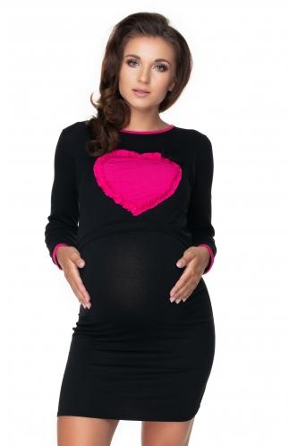 Be MaaMaa Těhotenská, kojící noční košile srdce, dl. rukáv - černá