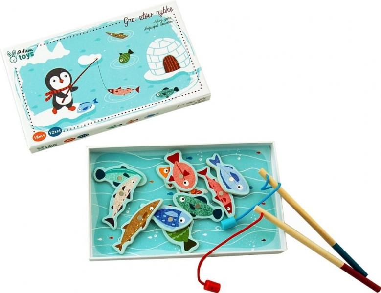 Adam Toys Dřevěná hra Tučňák na rybách
