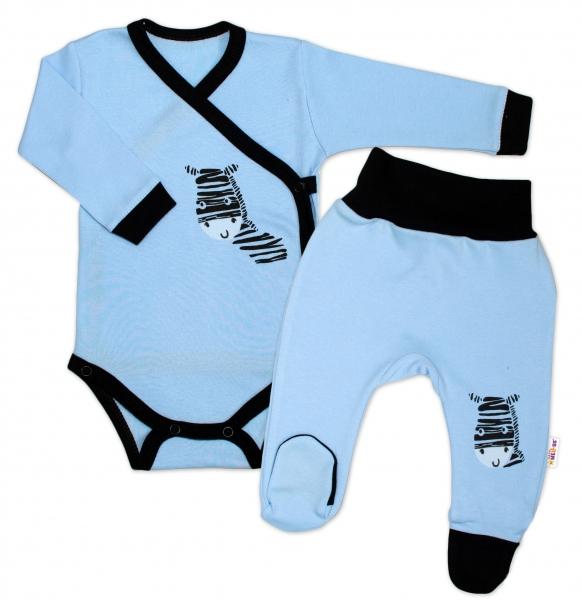 Baby Nellys 2-dílná sada body dl. rukáv + polodupačky, modrá - Zebra, vel. 74