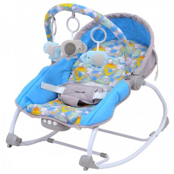 BABY MIX Lehátko pro kojence  s vibrací a hudbou - Dino - modré