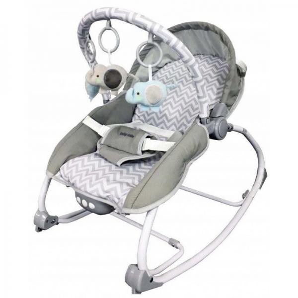BABY MIX Lehátko pro kojence  s vibrací a hudbou - Jedlička - šedé